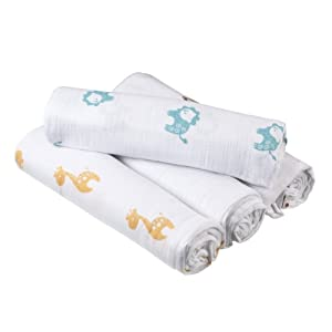 Aden by aden + anais Cotton 4 Pack Muslin Swaddle Blanket