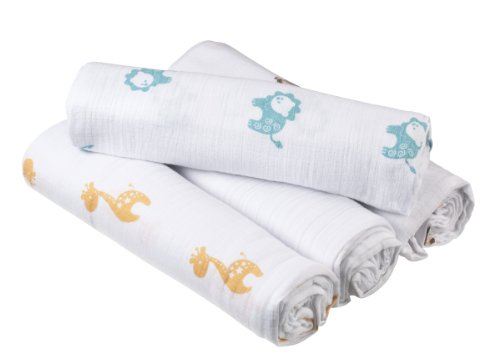 Aden by aden + anais 100% Cotton 4 Pack Muslin Swaddle Blanket, Safari Friends