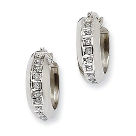 14k White Gold Rough Diamond Fascination Round Hinged Hoop Earrings - Measures 14x5mm - JewelryWeb