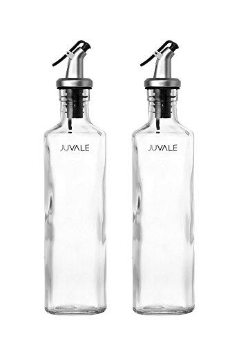 Vinegar Bottles - Oil and Vinegar Bottle Set - 12oz Glass Olive Oil Dispenser Bottles - 2 Piece Cruet Set (Olive Oil And Vinegar Container compare prices)