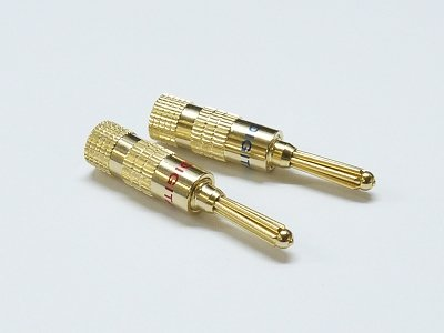 1 Pair Gold Amplifier Reciver Musical Audio Speaker Cable Wire Connector Banana Plug Type A