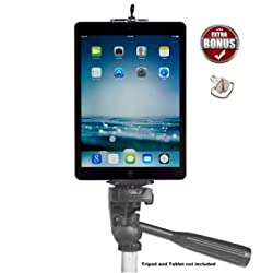 iPad Tripod Mount Adapter Holder Attachment for iPad 2 3 4 air - Galaxy Note Edge 3 4 5 11 Nexus 5X 6 6P 7 9 10 LG Optimus G4 G pro and more Tablet Mount for Tripod - DaVoice