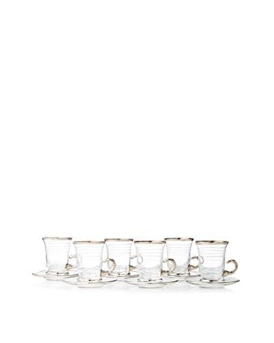 A Casa K Totem Set of 6 Hand Cut Crystal & Platinum Mint Tea Cups & Saucers