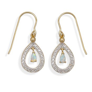 White Opal Earrings wtih Diamond Accent 18K Yellow Gold Plate Teardrop Shape