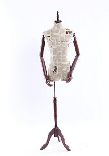 Eurohandisplay-Schneiderpuppe-Zeitung-Muster-stoffbezogene-Oberkrper-mit-Deckel-aus-Holz-Arme-und-Finger-aus-Holz-beliebig-verstellbar-dunkler-Holzstand