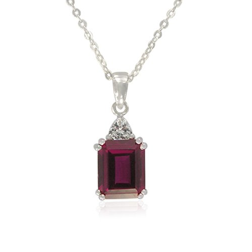 Sterling Silver Emerald-Cut Created Ruby with Cubic Zirconia Accent Pendant Necklace , 18.5