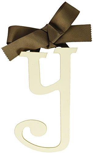 New Arrivals Wooden Letter Y with Solid Brown Ribbon, Cream
