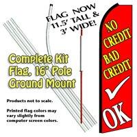 No Credit Bad Credit OK Feather Banner Flag Kit (Flag, Pole, & Ground Mt)