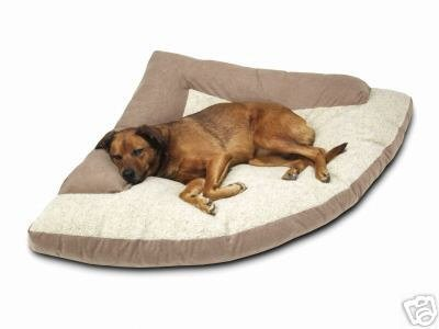 Corner Dog Bed with Bolster - Khaki,  XXL, 44