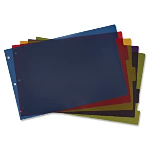 TOPS Cardinal 11x17 Inch Poly Dividers, 5-Tab, Multi-Color, (84250)