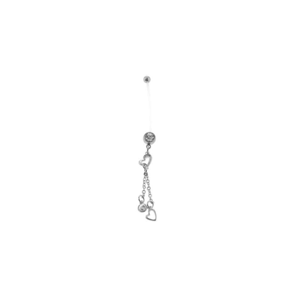 Bioflex Pregnancy Belly Ring with Heart Cubic Zirconia Dangles   14G