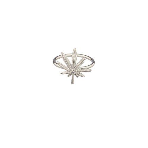 Lux accessori 420Weed foglie di Marijuana, ciondolo anello.