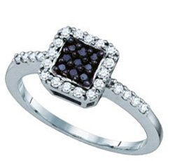 10k White Gold Black Colored & Natural Diamond Halo Womens Ladies Square-shape Cluster Fashion Ring - .35 (1/3) Ct.t.w.