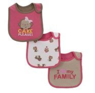 Carters Child Of Mine Teething/Feeding Bib ~ Set Of 3 Bibs, Girl Cake Please!... front-176366