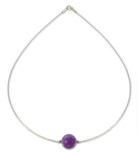 Sterling Silver and Purple Amethyst Pendant Necklace, 'Rotations' 19