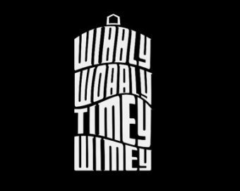 Dr. Who's Wibbly Wobbly Timey Wimey Tardis WHITE Vinyl Car/Laptop/Window/Wall Decal (Dr Who Car Window Decals compare prices)