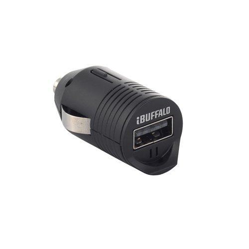 iBUFFALO シガー充電アダプター 1ポート どっちもポートタイプ ブラック BSMPA14BK