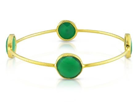 Yellow Gold Plated Silver 16ct TGW Green Onyx Bangle (8in)