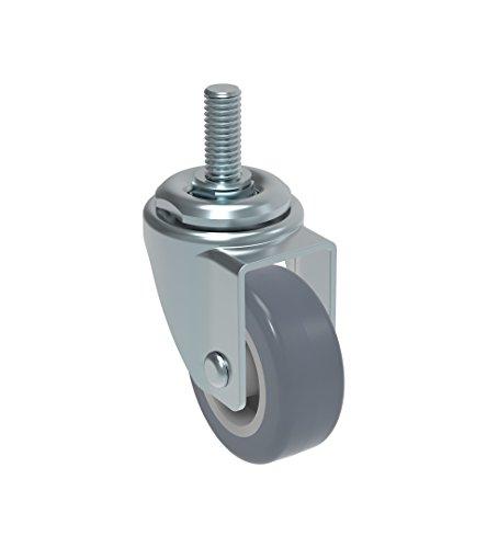 Schioppa L10 Series, GLEFF 210 BP, Swivel Caster, 2″ (50 mm) Non-Marking Thermoplastic PVC Wheel, 70 lbs, 10 mm Diameter x 40 mm Length Threaded Stem