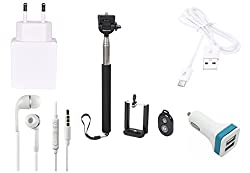 High Quality Selfie Stick , 2.0 Amp USB Charger, USB Cable,3.5mm Jack Handsfree, 2 Jack USB Car Charger Compatible With Intex Aqua Speed