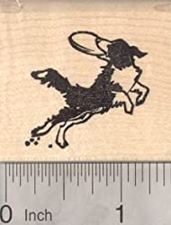 Border Collie Dog Rubber Stamp, Catching a Frisbee