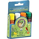 Badger Organic Lip Balm 4 Sticks Gift Set Blue Pack