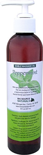Peppermint Edible Massage Oil 8 Fl. Oz. Pump with Pure Peppermint Essential Oil