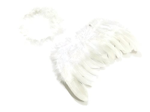 Rush Dance White Feather Angels of Hope Wings & Halo for Newborn 0-6 M Babies