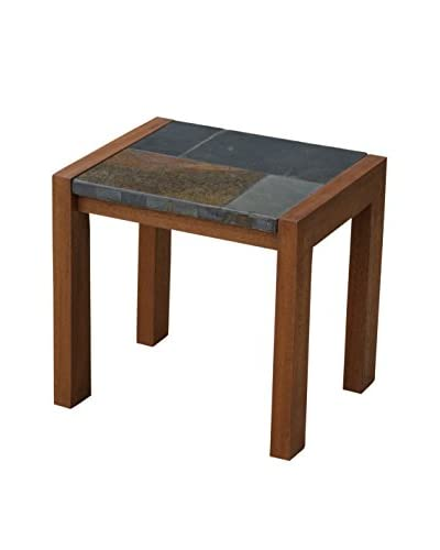 Outdoor Interiors Slate Mosaic & Eucalyptus Accent Table, Brown