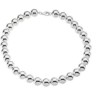 Sterling Silver 14mm Bead Necklace or Bracelet: 8 Inch