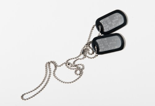 MILITARY DOG TAGS - Set of 2 personalised army style dog ID tags with ball chains & silencers<br>(READ DESCRIPTION TO SEE HOW TO ADD PERSONALISATION)