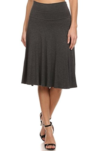 12-ami-solid-basic-fold-over-stretch-midi-short-skirt-charcoal-xx-large