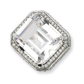 Genuine IceCarats Designer Jewelry Gift Sterling Silver Cz Asscher Cut Ring Size 7.00