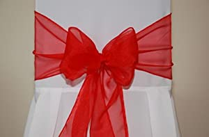 Organza Chair Ties Sashes in Red by Confetti Heaven