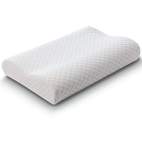 Memory Foam Bed Pillow, Kacat Ergonomic Support Comfortable Sleeping Pillow with Zippered Washable Pillow Cover (Contour Shape)