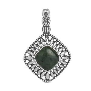 Relios Sterling Silver Nephrite Jade Pendant Enhancer