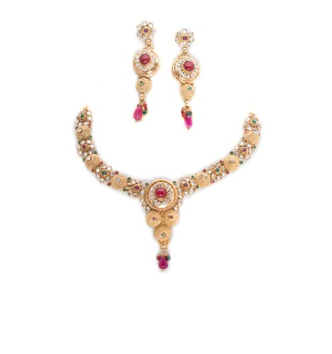 1 gram gold with necklease set with cz and red stone (multicolor)