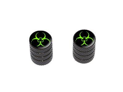 Zombie Outbreak Response Vehicle Green Biohazard - Motorcycle Bike Bicycle - Tire Rim Valve Stem Caps - Black