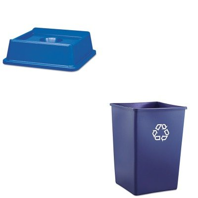 KITRCP2791BLURCP395873BLU - Value Kit - Rubbermaid 2791 Untouchable Bottle and Can Recycling Top for 3958-06, 3959-06 Containers (RCP2791BLU) and Rubbermaid Recycling Container (RCP395873BLU)