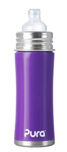 Pura Kiki Sippy Bottle Stainless Steel, Grape, 11 Ounce