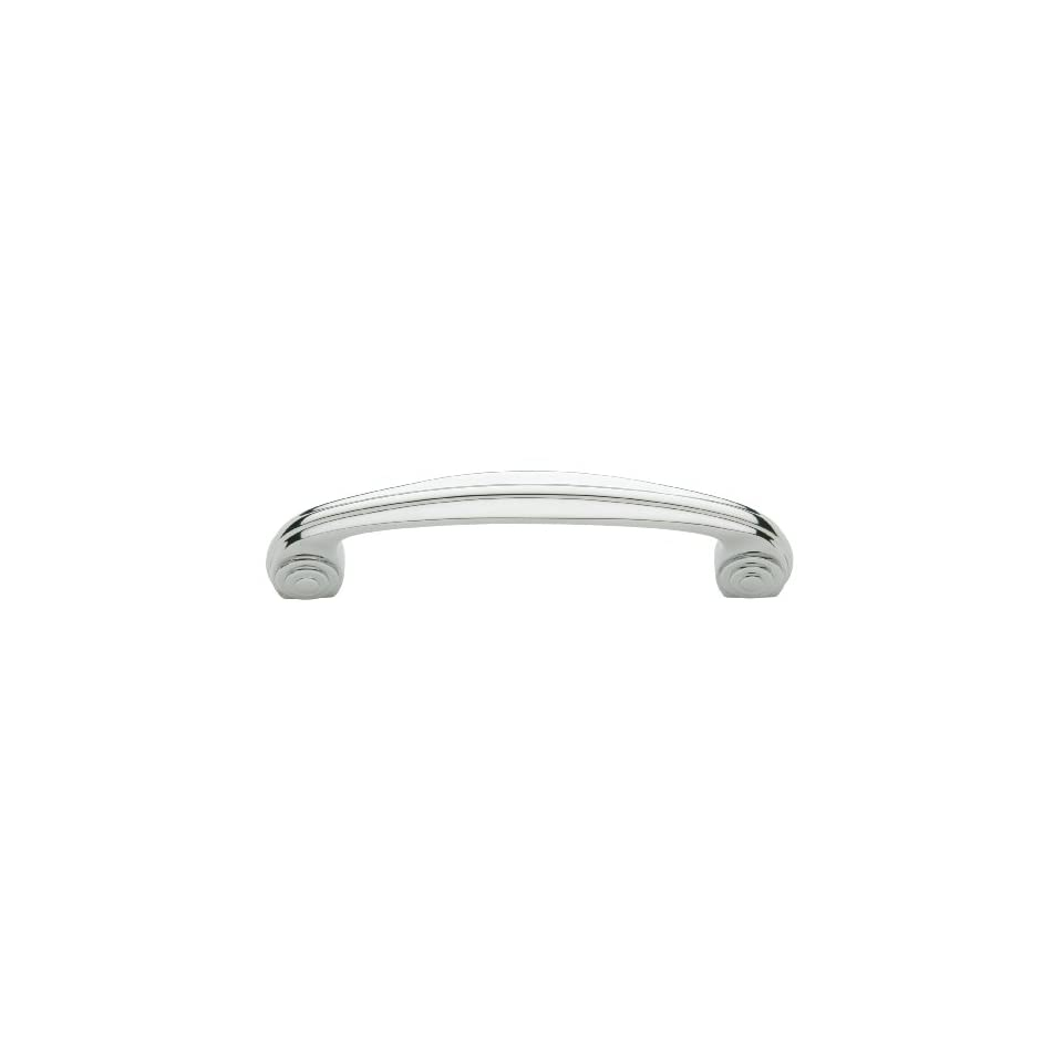 Baldwin 4438260 Polished Chrome Deco 4 Inch Center to Center Solid Brass Handle Pull from the Deco Collection 4438