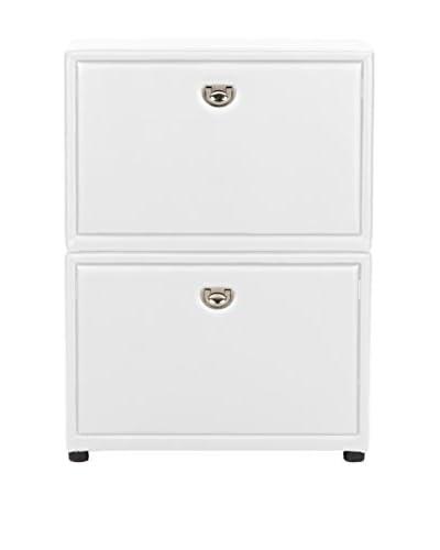 Baxton Studio Petito 2-Tier Shoe Cabinet, White