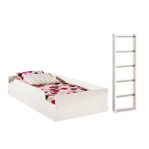 South Shore Furniture, Logik Collection, Loft Top Bunk & Ladder, Pure White front-854468