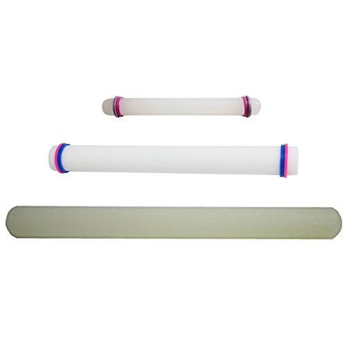KurtzyTM Set Of 3 Smooth Rolling Pins- 23cm/33cm/50cm- With Guide Rings For Cake Decorating, Icing (Fondue Roller compare prices)