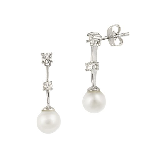 Sterling Silver Simulated Pearl with Cubic Zirconia Short Linear Drop Post Earrings
