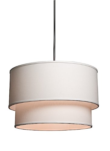Artcraft Lighting SC522WH Mercer Street Small Round Chandelier, White with White Linen Shade