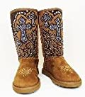 Montana West Womens Winter Suede Boots Rhinestone Cross 7M Tan