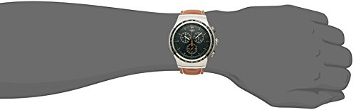 Swatch Alpine Vintage Green Dial Brown Leather Mens Watch YOS450 3