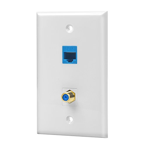 IBL-1 Cat6 Ethernet Port and 1 Gold-plated Cable TV Coax F Type Port Wall Plate (White)