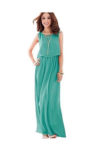Dayiss ® pliega mujeres sencillo vestido de gasa vestido verano maxi playa vestido sin mangas de cuello redondo larga (verde claro) (XL)